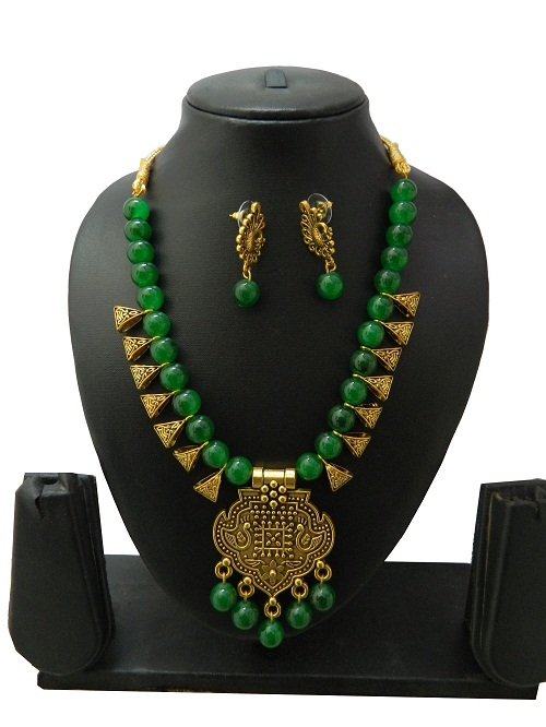 Green Indo Western Necklace With Earrings