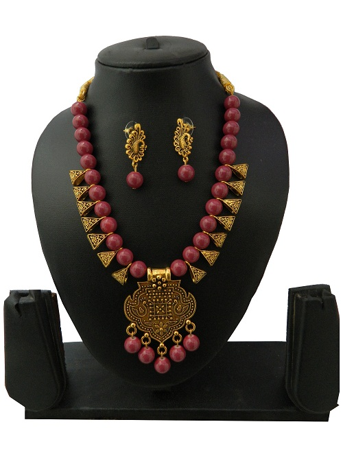 Mahogany Indo Western Necklace With Earrings