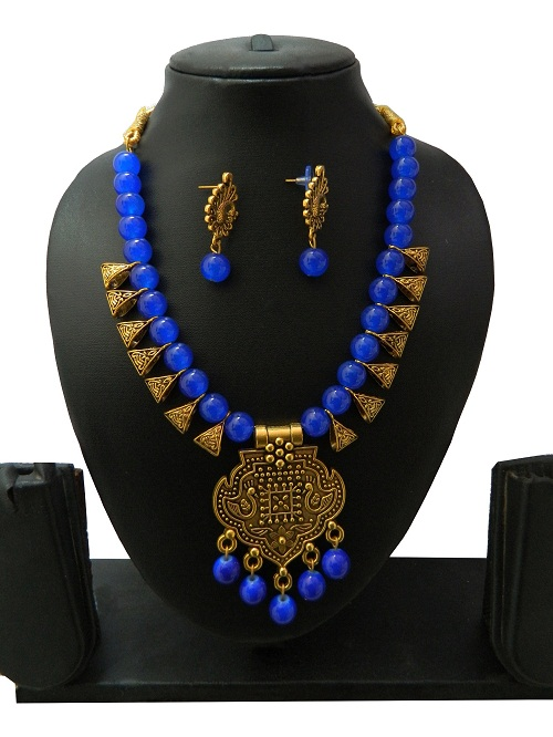 Blue Indo Western Necklace With Earrings