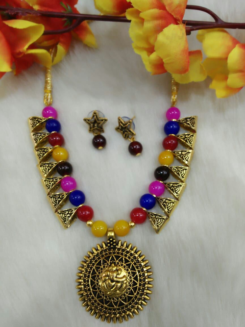 Multicolour Ganesha Pendant Indo Western Necklace With Earrings