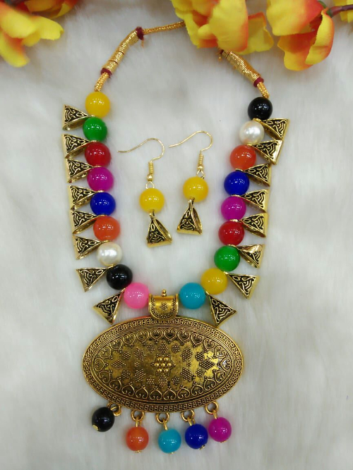 Multicolour Indo Western Necklace With Earrings