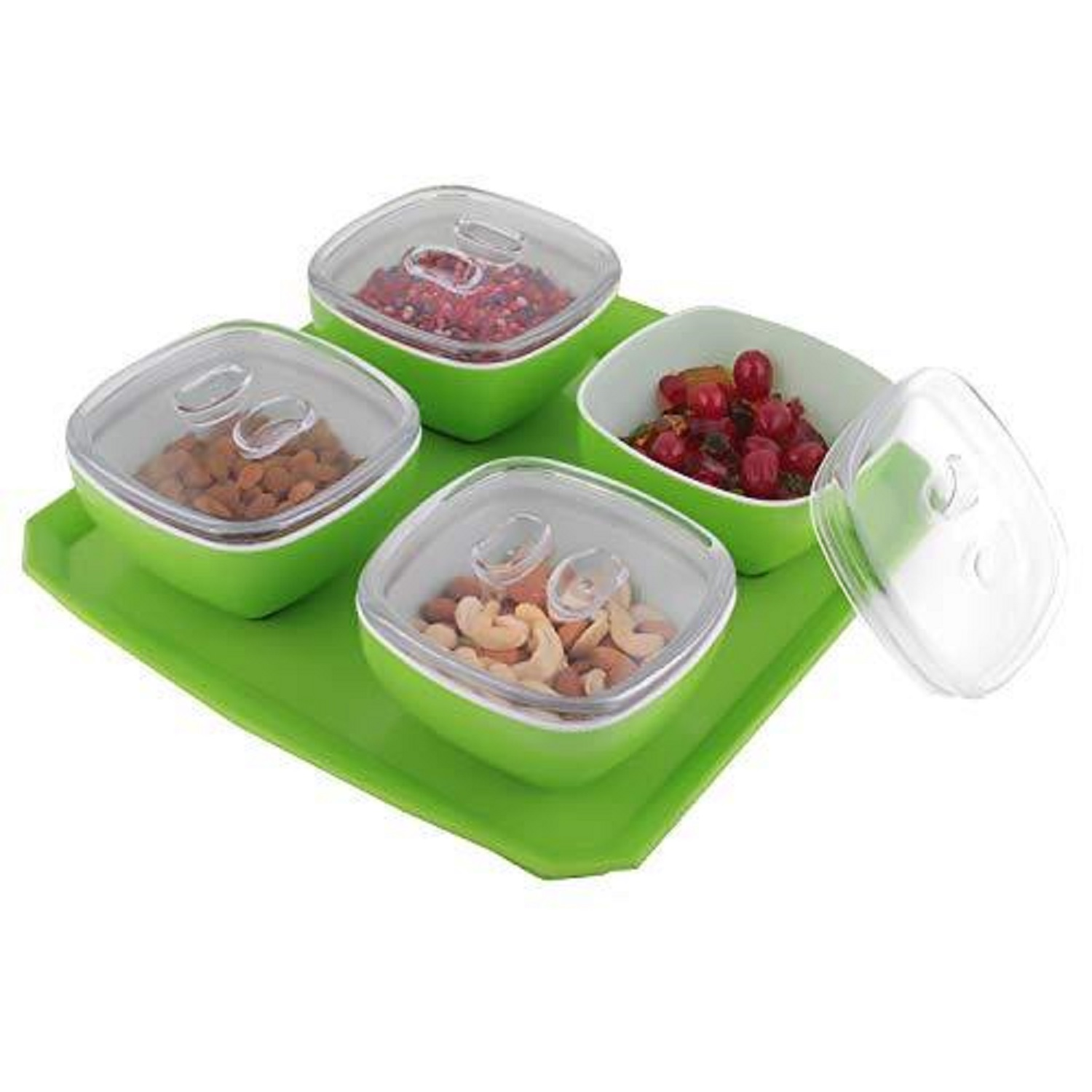 Multipurpose Dryfruit Box with 4 Bowl and Tray